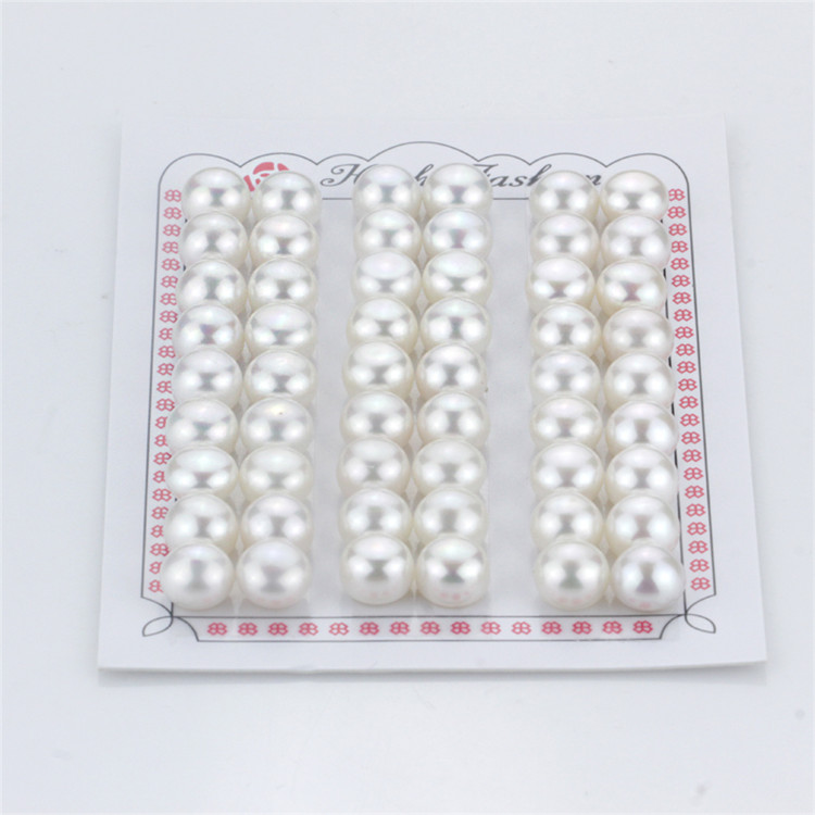 8-9mm Aaaa Button Round Half Drilled Matching Pairs Wholesale Freshwater Loose Pearl