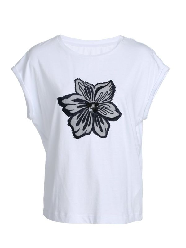 Ladies Summer Loose Style Embroidered T Shirt