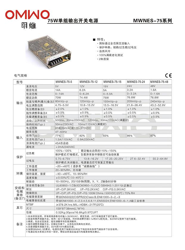 Hot Sell Nes-100 SMPS 100W Ad/DC LED Driver Power Supply