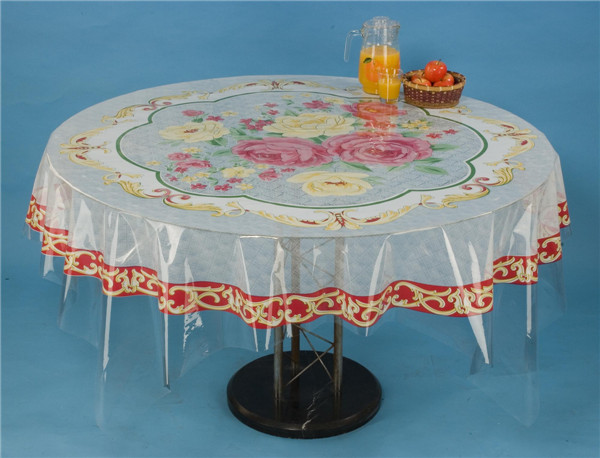 140*215cm Round PVC Printed Transparent Tablecloth of Independent Designlfgb () and Waterproof, Oilproof Feature for Home/Outdoor/Wedding