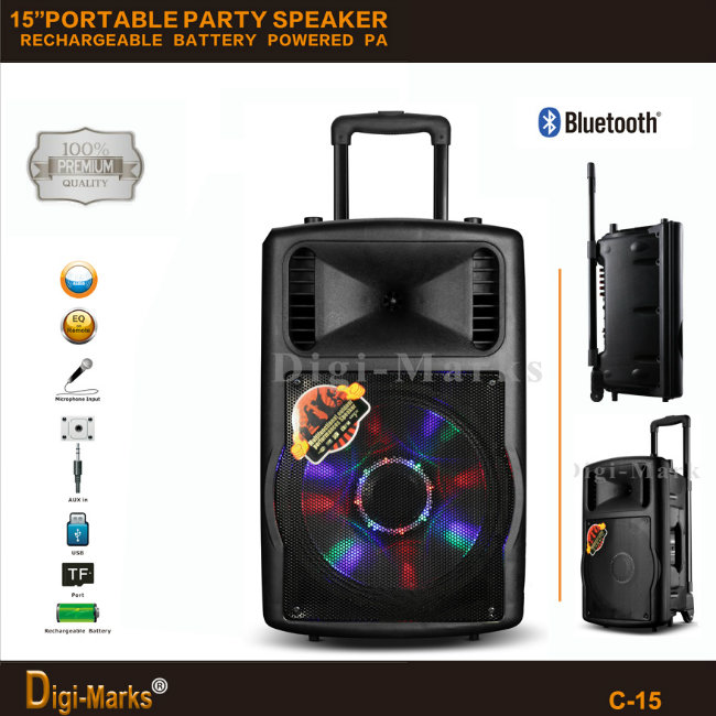 Guangzhou Manufacturer Price Multi-Functional Bluetooth Stereo Battery Active Trolley Speaker