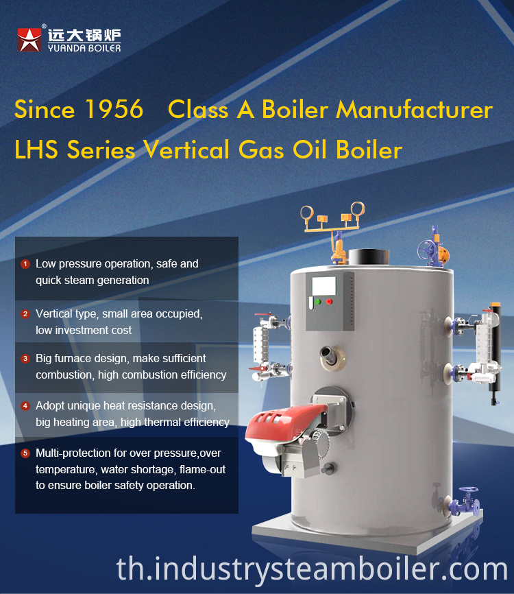 Vertical 200 kg/h Diesel Gas Fired Steam Boiler