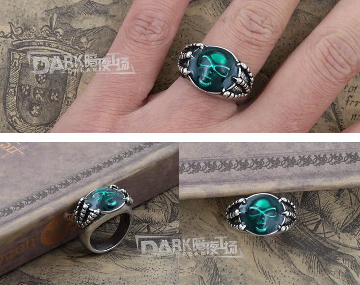 'the Ring of The Soul' Green Jewellery Insert Retro Silver Color