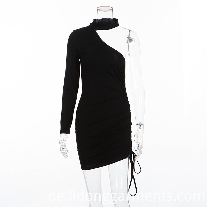 One Shoulder Drawstring Dress