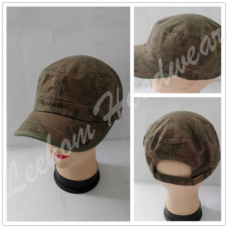 Washed Olive Military Caps with Embroidery Patch