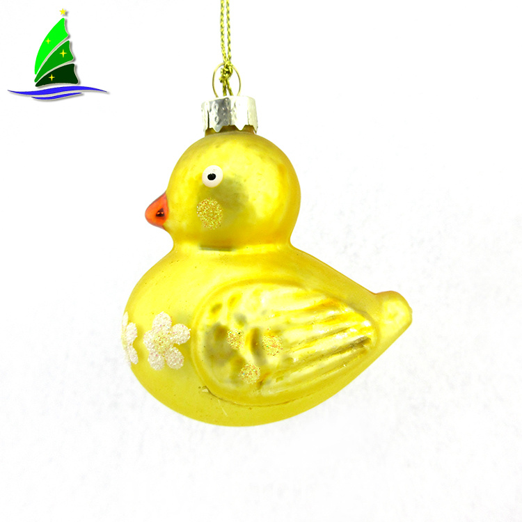 Glass Yellow Duck Decorative