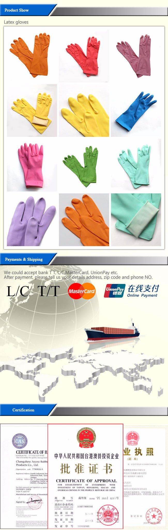High Quality Household Safety Latex Cleaning Work Gloves with SGS Approved