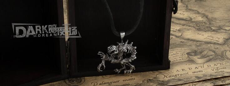 Alloy Metal Silver Color Leather Chain Male Mode Necklace Gothic Fashion.