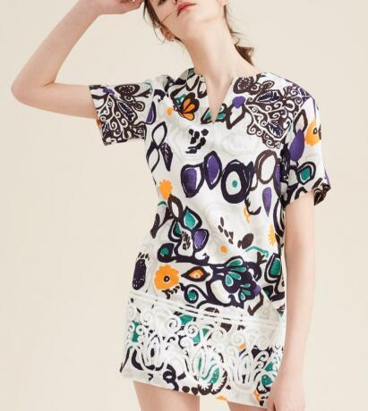 Summer Fashion Latest Printed Jacquard Scrawl Short Sleeve Women's Dress