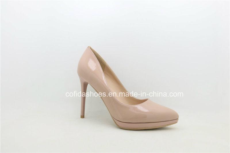 Latest Fashion Plaform High Heel Leather Lady Shoe