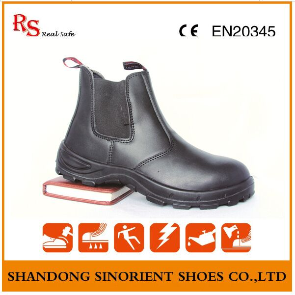 Black Action Leather No Lace Chelsea Work Boots RS102
