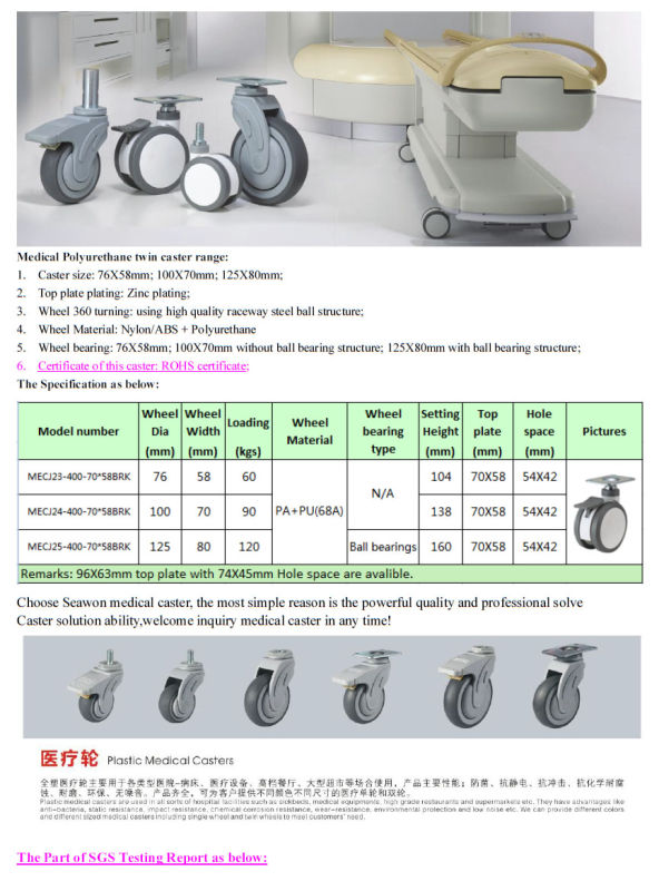 Medical Caster Top Plate with Brake PU Caster