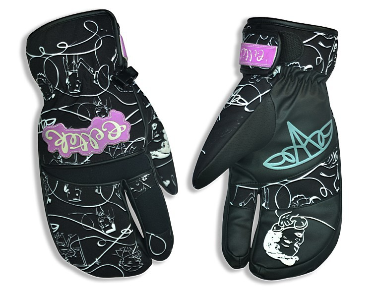 Store Top Quality Winter Warm waterproof Pig Leather 3 Finger Ski Mittens