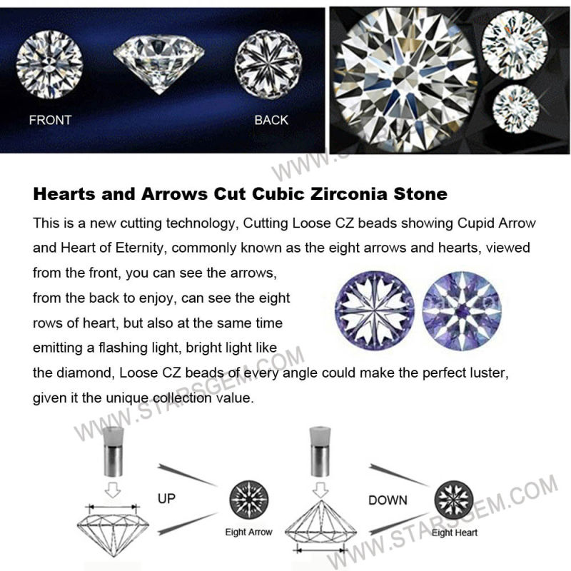 White Color 12mm Round Star Cut Cubic Zirconia