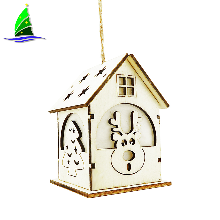 LED Wooden House Christmas Hanging Ornaments