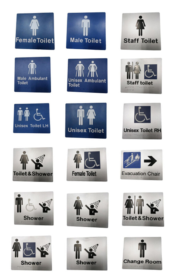 High Quality Male / Female Plastic Braille Toilet Sign Plate