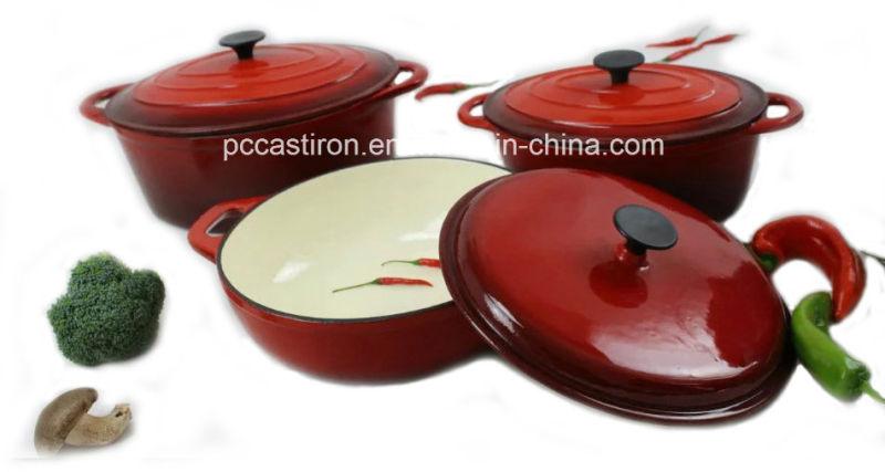 3PCS Cast Iron Cookware Set Enamel Finishing
