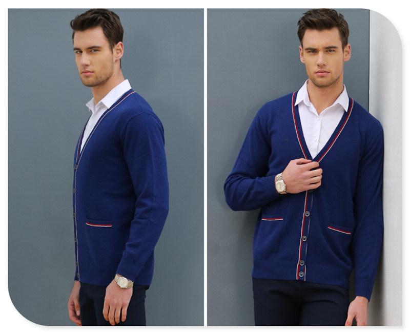 Wholesale Button Cardigan Style 100% Man Cashmere Sweater
