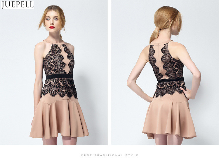 2016 New Summer Package Hip Slim Thin Halter Sexy Strapless Flounced Lace Dress Female Temperament Fashion Dresses