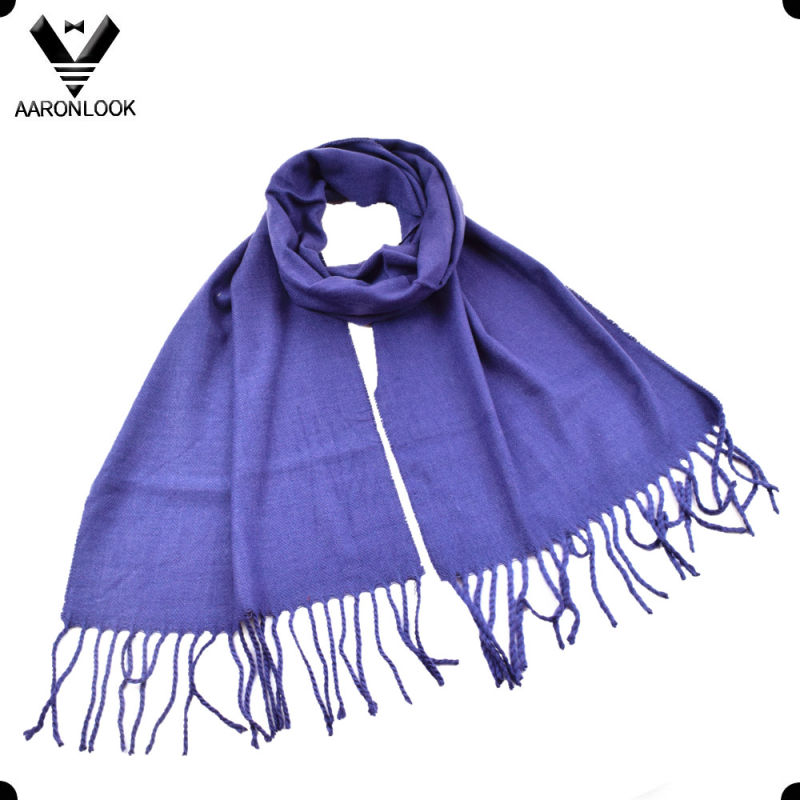 Lady Pure Color Woven Cheap Simple Scarf for Wholesale