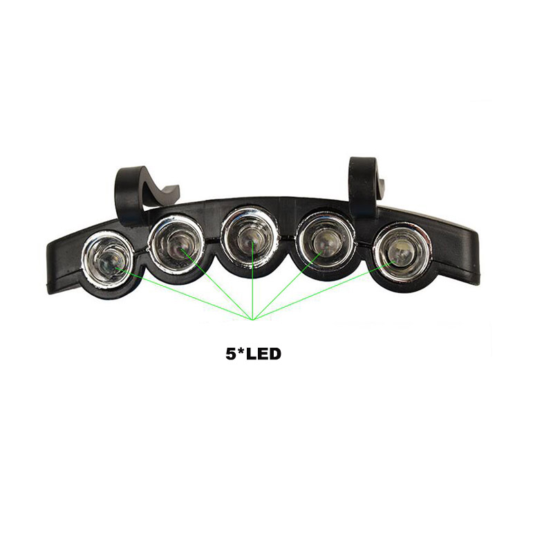 Lip-on 5 LED Head Lights Lamp Cap Hat Camping Hat with LED Light Hands Free