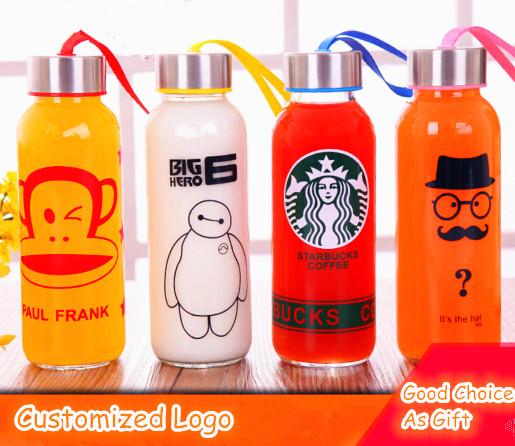 Customized Logo Various Designs Sport Glass Bottle Sport Water Bottle