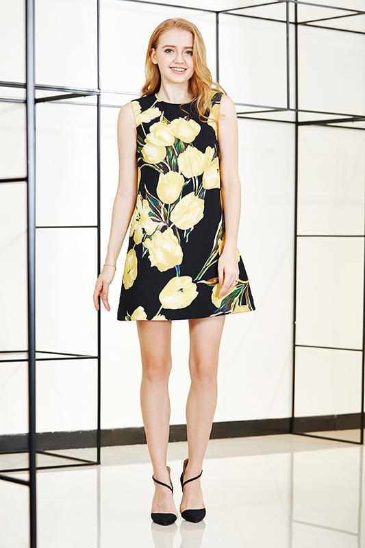 Flower Print Sleeveless A Line Mini Dress