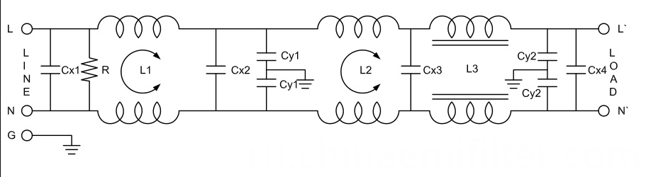 Single Phase EMC Noise AC Power Filter