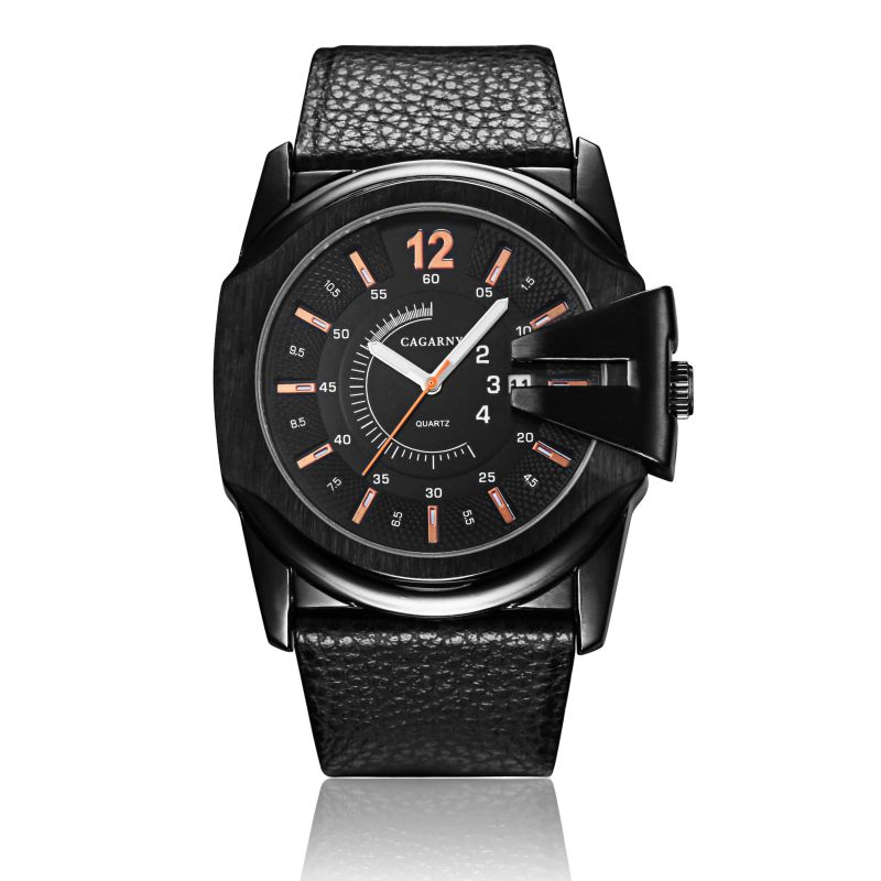 6838blk Big Dial Leather Watch