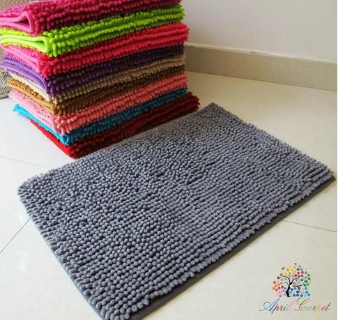 40X60cm Microfiber Plain Color Antislip Chennile Bath Mats