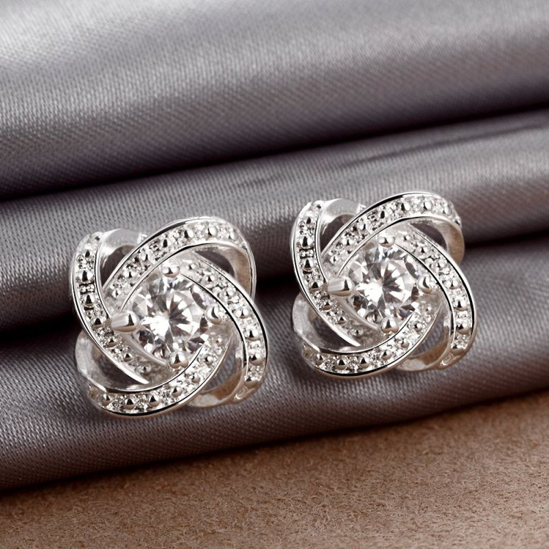 Hotsale Silver Plated Zircon Women Ear Stud Women Earrings