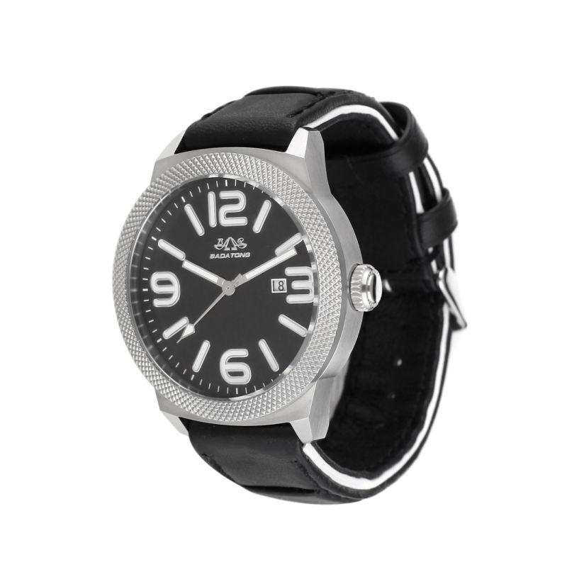 Badatong Black Genuine Leather Quartz Watches Men