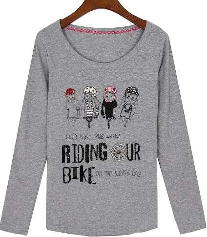 Custon Round Neck Fashion Printed Long Sleeve Girl T Shirt