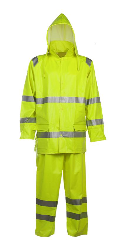 Mens Hivis Rainwear Resistant Hooded Jacket