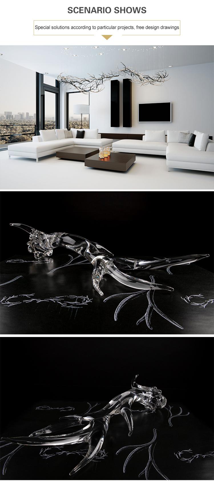 Роскошное искусство высокого качества для гостиной, украшения дома, прозрачная стеклянная светодиодная люстра