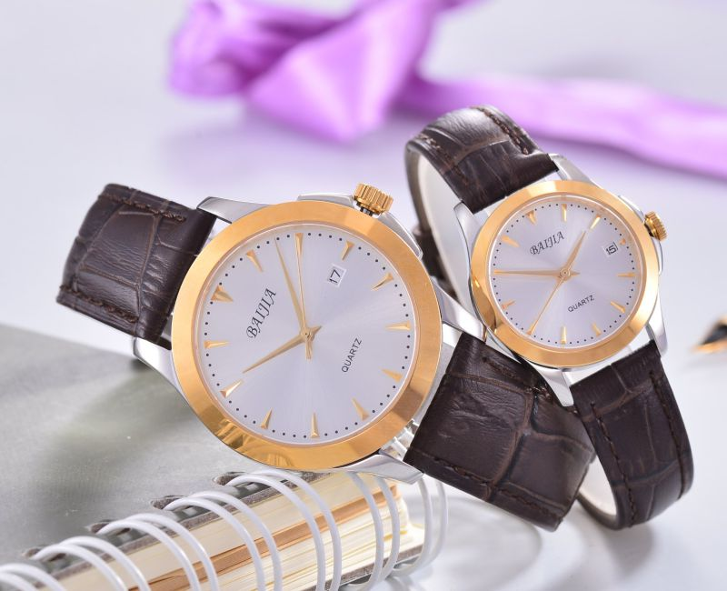 Round Unisex Stainless Steel Automatic Watch with Leather Band