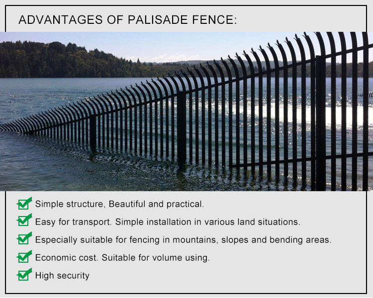 Pvc Coated Black Aluminum Steel Palisade Fencing Designs