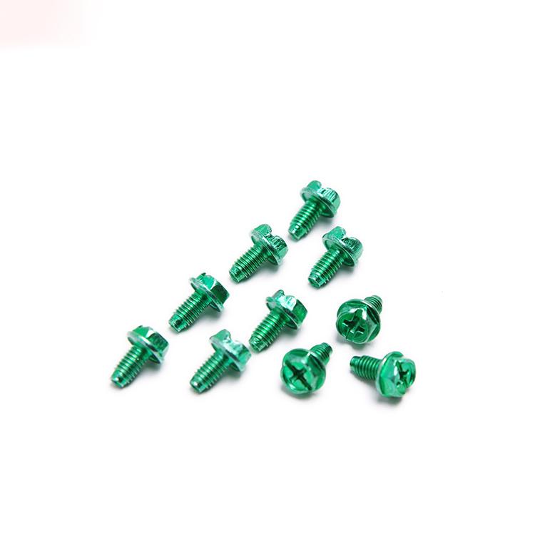 Aluminum Color Cross Recessed Hexagon Triangular Tooth Lock Screw