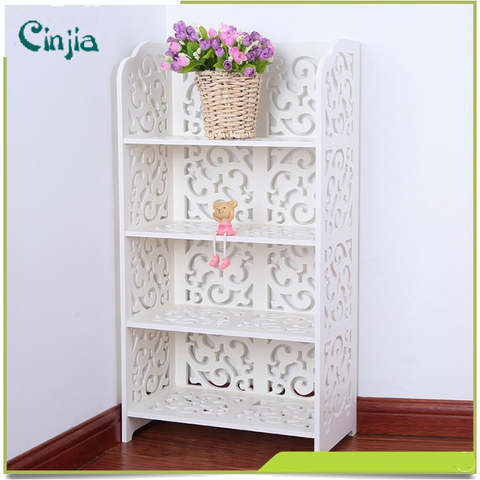White Four Layers Small Book Shelf, Similar to The Material of Wood Plastic Shelf