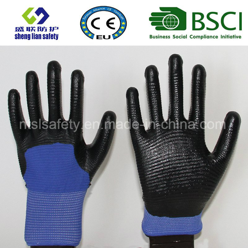 13G Polyester Shell with Nitrile Coated Work Gloves (SL-N117)