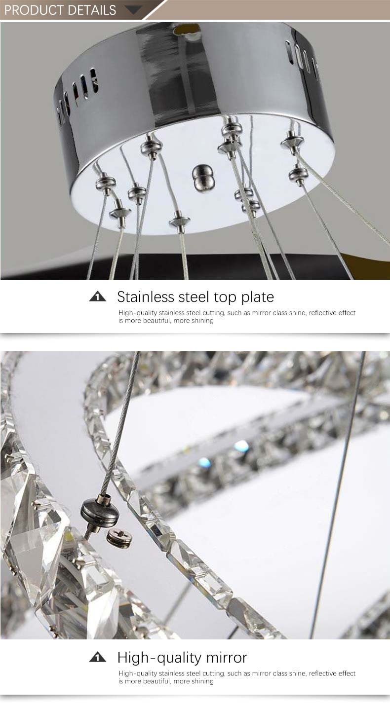 Indoor Crystal Three Round Rings LED Modern Chandelier