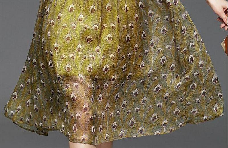 Summer Round-Neck Peacock Feather Pattern Women's Dress