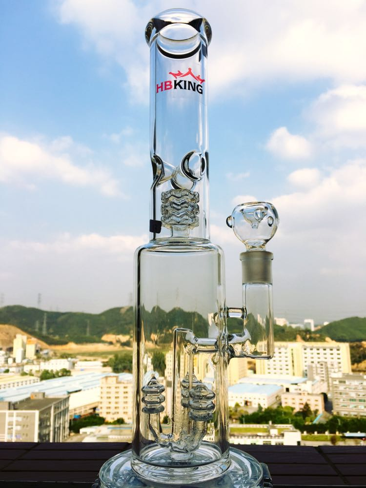 China Factory 15 Inch 5mm Thickness Straight Tube Glass Smoking Water Pipe