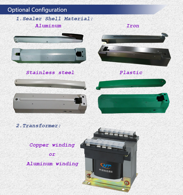 Portable Hand Impulse Sealer for Heat Sealing LDPE HDPE Bag and Laminating Film with Big Transformer and Cutter