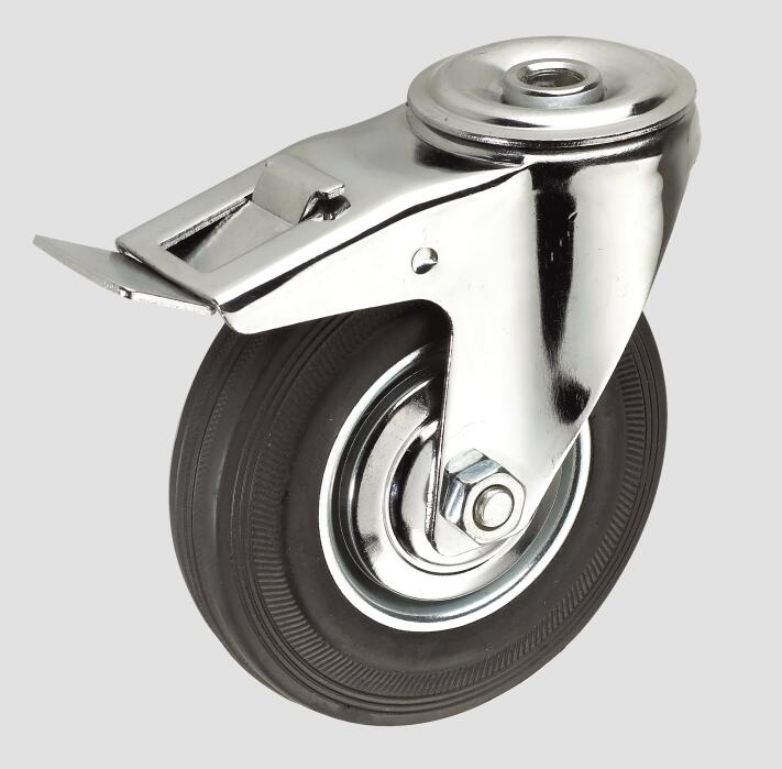 Black Rubber Industrial Caster Without Brake