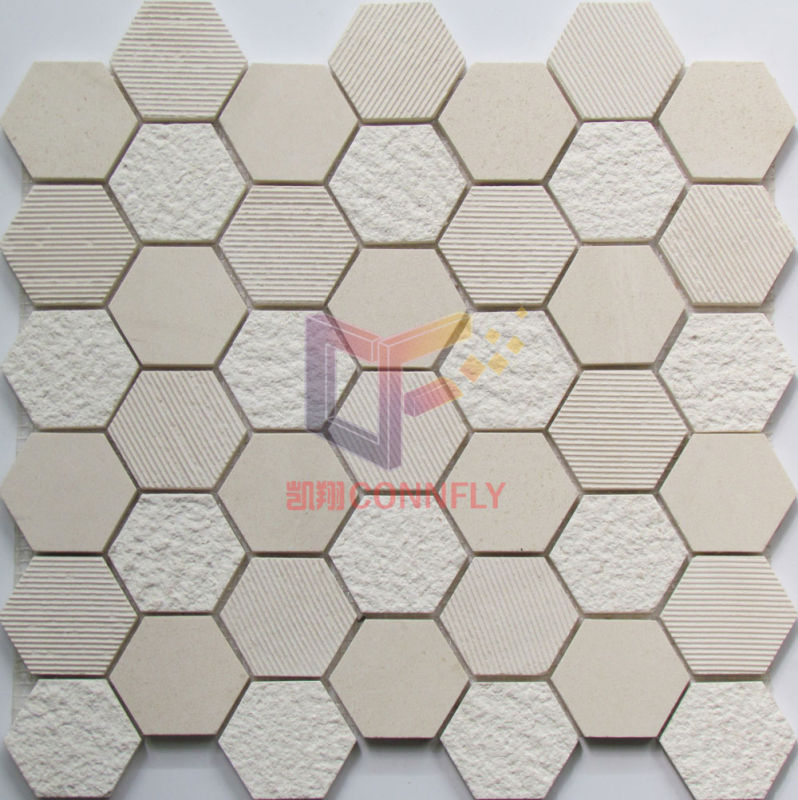 Natural Wooden Marble Stone Mosaic (CFS1047)