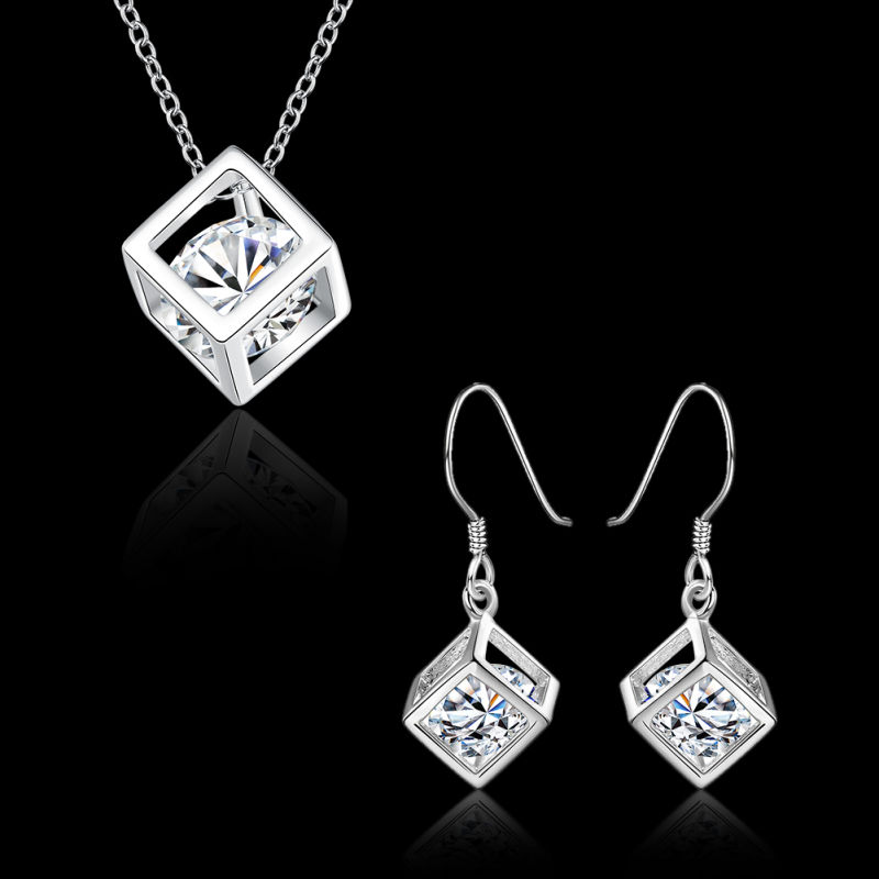 Fashion Jewelry Sets Colorful Square Zircon Necklace Earrings Platinum Plated