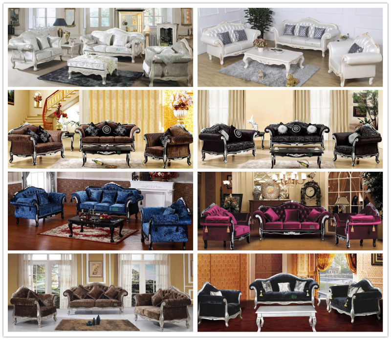 Classic Sofa with Wooden Sofa Frame and Table (D987)