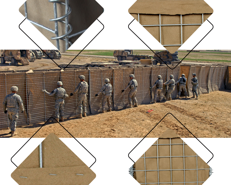 75*75mm gabion retaining wall galvanized hesco barrier