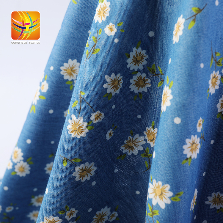Cotton Denim Print Fabric For Garments